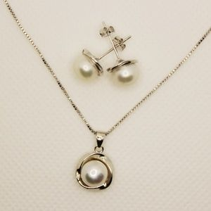 Jewelry - Genuine Freshwater Pearl Necklace and Earring Set